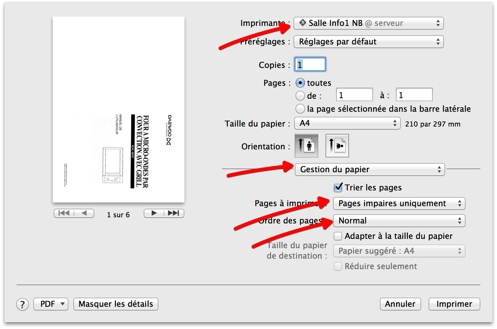 Pages impaires