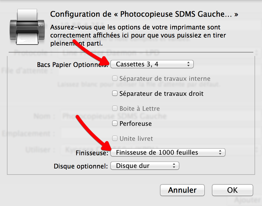 Configurer les options