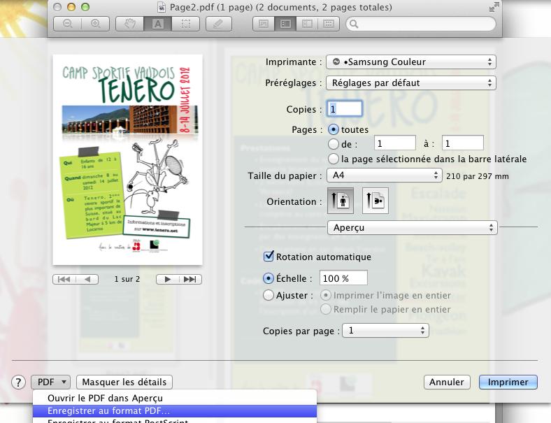 Imprimer en pdf