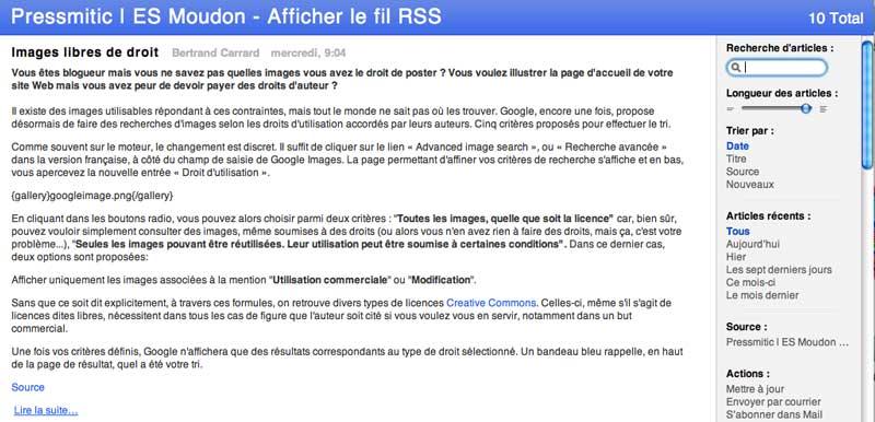 RSS dans Safari